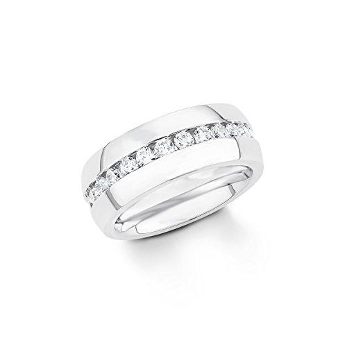 s. Oliver Damen-Ring Edelstahl Zirkonia weiß Rundschliff Gr. 56 (17.8) - 539890