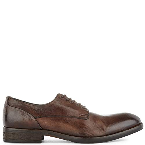 H By Hudson Mens Dorsay Leather Flat Office Smart Work Business Shoes - Brown - 9