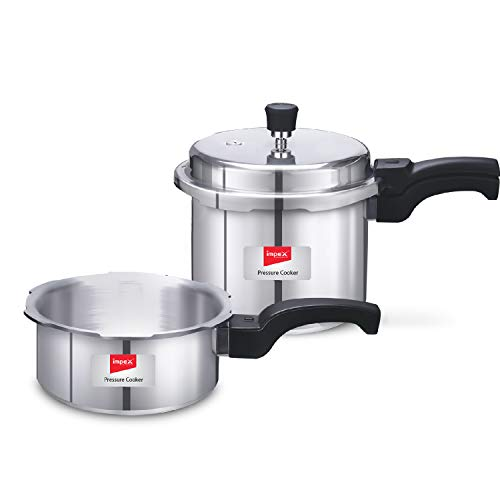 Impex IFC-235 Induction Base Aluminium Pressure Cooker Family Combo with Outer Lid (Set of 2 & 3 & 5 Litre)