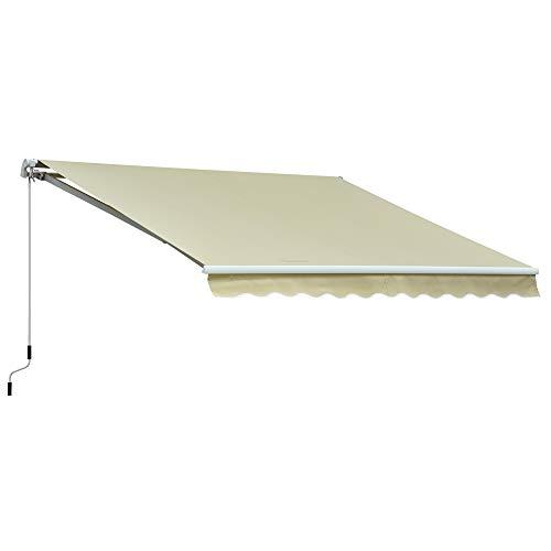 Outsunny Markise Gelenkarmmarkise Sonnenschutz Balkon Creme 2,95x2,5m