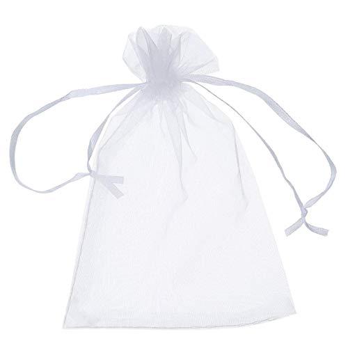 N/AB 100 bolsas de organza – bolsas de joyería con cordón de malla para chocolates – Bolsas de regalo de boda para Navidad, fiesta de baby shower (blanco)