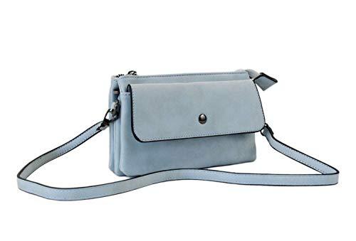 irisaa kleine Damen Umhängetasche Schultertasche weich- Designe Crossbody Handtasche Geldbörse Handy Mini-Tasche Brieftasche mit Verstellbarem Schultergurt für Handy, Damen Tasche:Hell Blau