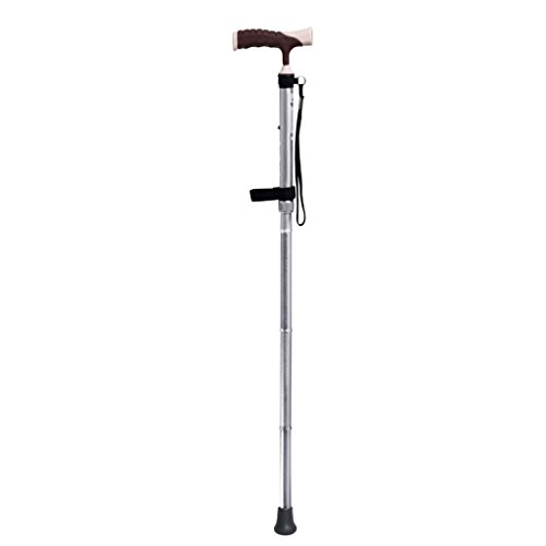Moolo HLMMM Bastone da passeggio Bastone pieghevole Bastone antiscivolo per anziani Bastone in lega di alluminio a rotazione singola (Colore : Silver)