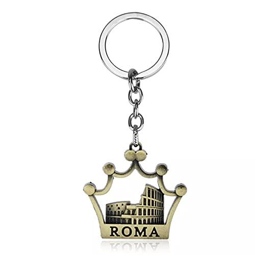 MINTUAN Llavero de Moda Coliseo Romano Llavero Corona Colgantes Hombres joyería Coche Llavero Anillo Titular Recuerdo