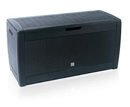 rg-vertrieb Gartenbox Auflagenbox 310L Rattan Optik Truhe Box Gartentruhe Boarde Kissenbox Gartenkasten (Anthrazit)