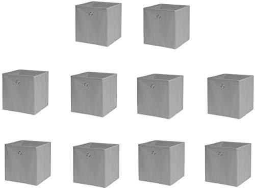 4 cajas de almacenamiento de tela no tejida, 32 x 32 x 32 cm, color gris