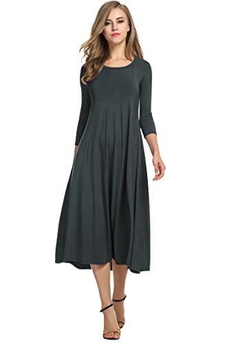 Hotouch Women Loose Jersey A-Line Dresses (Dark Gray L)