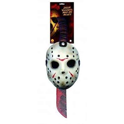 Rubie's costume Friday the 13th: Jason Mask and Machete Set Accessory, As Shown, One Size US