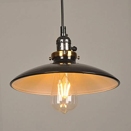High Brightness Restaurant Iron Wok Small Chandelier Industrial Style Pendant Light with UFO Iron Saucer Shade Black E27 Chain: 39.37 inch (100 cm)