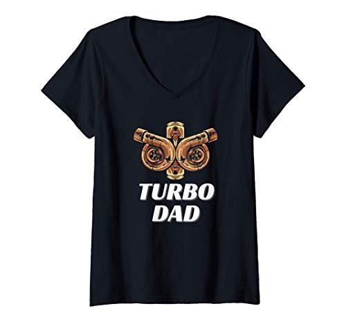 Damen Turbolader Vater Tuning Kompressor Mechaniker T-Shirt mit V-Ausschnitt