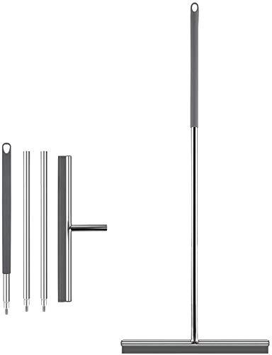 GEEDIAR Limpiacristales de acero inoxidable y silicona, con soporte de pared para madera, vidrio, baldosas, inodoro, agua, pelo, polvo