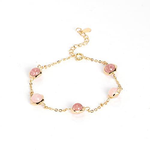N/A Schmuck Erdbeer-Kristall-Kristall-Armband Mädchen Herz Retro-Rosa-Kristall-Armband weiblich einfach super Fee Jubiläum Muttertag Weihnachten Geburtstagsgeschenk
