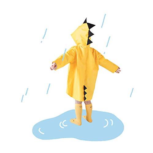 LHFLU-SP Lindo Dinosaurio Bebé Impermeable Al Aire Libre Impermeable Poliéster Capa de Lluvia Impermeable Poncho Niños Niñas Chaqueta de Lluvia,Amarillo,XL