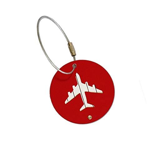 Toruiwa Metall Kofferanhänger Koffer Runden Flugzeugmuster Gepäckanhänger mit Namensschild Adressschild Luggage Tag (Rot)