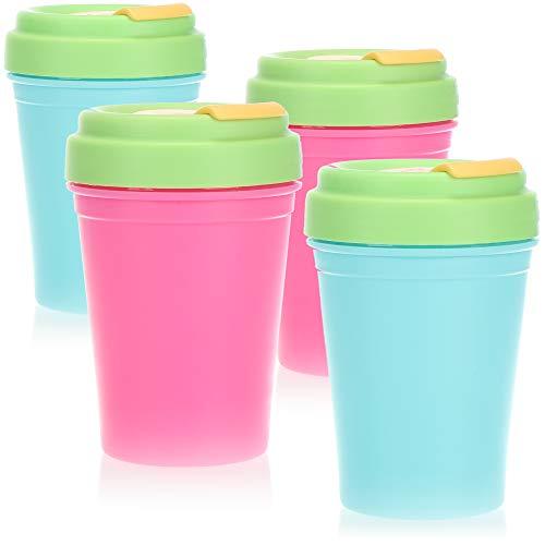 com-four® 4X Trinkbecher aus Kunststoff - Kinderbecher für Camping und Reisen - Becher mit Schraubdeckel - BPA-frei - 300ml