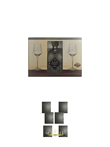 Steinhauser See Gin Bodensee in GP inkl. 2 Gläser 0,7 Liter + Schiefer Platzset 6 Stück Schieferplatten a 30 x 40 cm Servierplatte
