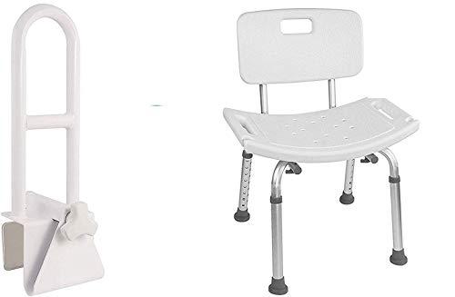 Vaunn Medical Bathtub Safety Rail Grab Bar and Shower Chair Removable Back Bundle