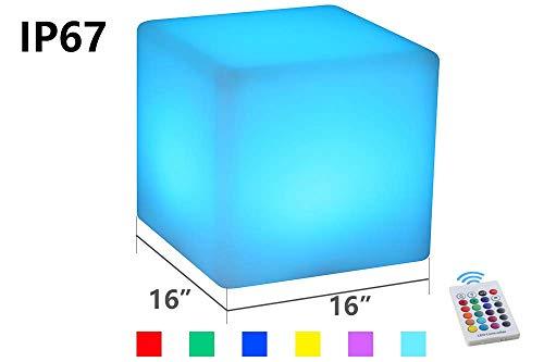 JINGBO Taburete Cubo LED, Luz Nocturna Intemperie con IP67 Impermeable -5 Brillo Regulable -16 Colores RGB Ajustables -4 Modos de Color-cambiante [Clase de eficiencia energética A]