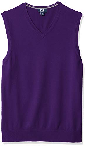 Cutter & Buck Men's Cotton-Rich Lakemont Anti-Pilling V-Neck Sweater Vest, College Purple, X-Large