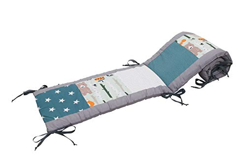 Bettumrandung für Babybett 70x140 cm | Made in EU | ÖkoTex 100 | Schadstoffgeprüft | Antiallergisch | Baby Nestchen für den Kopfbereich | Umrandung Babybett | Waldtiere Petrol | ULLENBOOM ®
