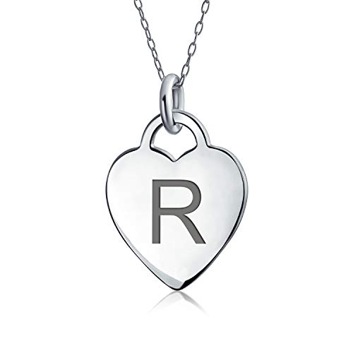 Tiny Minimalist Abc Medium Size Heart Shape Script Or Block Letter Alphabet R Initial Pendant Necklace For Teen For Women 925 Sterling Silver Custom Engraved