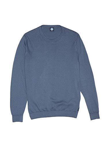 NORTH SAILS Uomo Maglia in Vintage Indaco Cotone con Maniche Lunghe e Scollo Rotondo - vestibilità Regular - XL