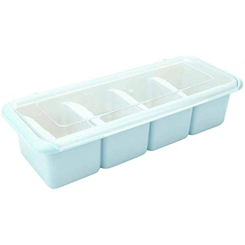Sywlwxkq Caja de condimentos de 4 Compartimentos Organizador de Estante de Especias Contenedor de Soporte de condimentos (Azul)