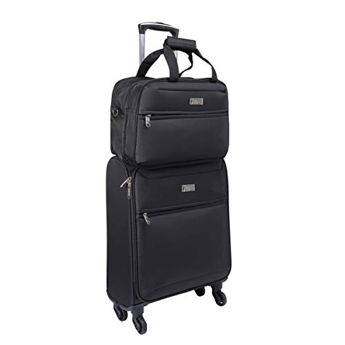 Cabin Max Copenhagen Premium Cabin Suitcase Set - Wheeled Suitcase 55 x 40 x 20 with 40 L, 4 Wheels and Stowaway Bag with 40 x 25 x 20 cm, 14 L - Perfect for Ryanair