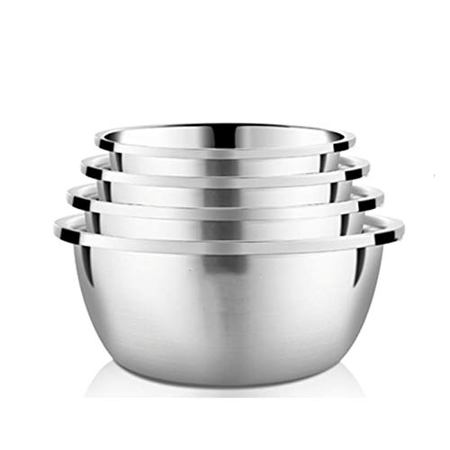 ZHENZEN Stainless metal mixing bowl salad bowl Multifunctional mixing bowl High capability Multi-function cooking Stackable Reduce space for storing Easy to wash 4pcs