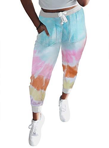 LOSRLY Damen Jogginghose mit Taschen, Batik-Hose vorne mit Kordelzug Gr. S, mehrfarbig