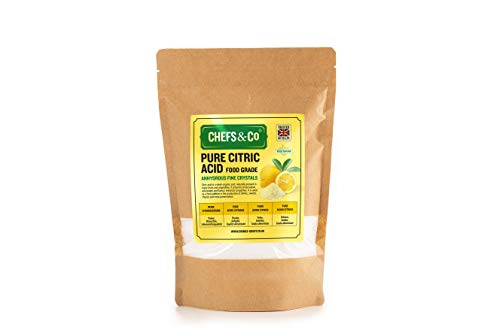 CHEFS & CO Pure Citric Acid -1kg   Powder   Anhydrous   100% Pure Food Grade Fine Crystals   GMO-Free   Premium Quality   Vegan   Gluten-Free  