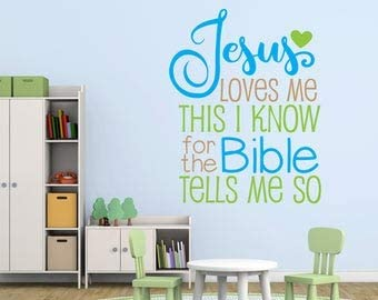 Jesus Loves Me Wall Quote Large Vinyl Wall Words Kids Bedroom Wall Stickers Jesus Loves Me Bible product image