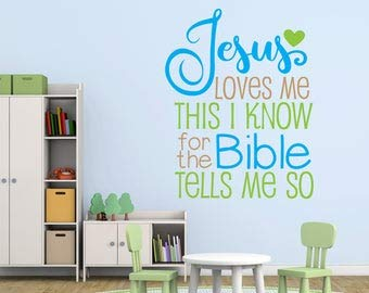 Jesus Loves Me Wall Quote, Large Vinyl Wall Words, Kids Bedroom Wall Stickers, Jesus Loves Me Bible Tells Me So Saying for Wall, Church Art