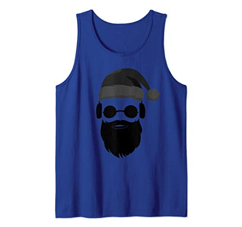 Cool Hipster Santa Claus Beard Sunglasses Headphones Present Tank Top