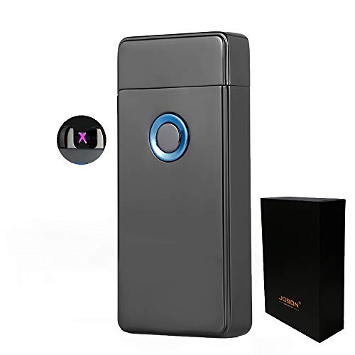 Dual Arc Plasma Lighter USB Rechargeable Windproof Flameless Electric Lighter for Cigar Candle Cigarette (Black)