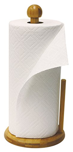 Home Basics Easy Tear Bamboo Paper Towel Holder Dispenser Organizing Stand, Weighted Base, Beige