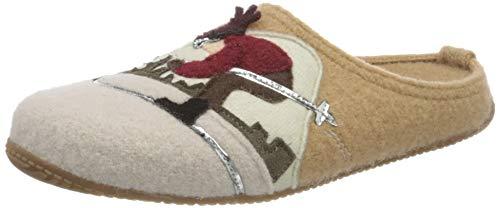 Living Kitzbühel Damen Pantoffel Skifahrer mit Fußbett Hausschuh, Camel, 38 EU