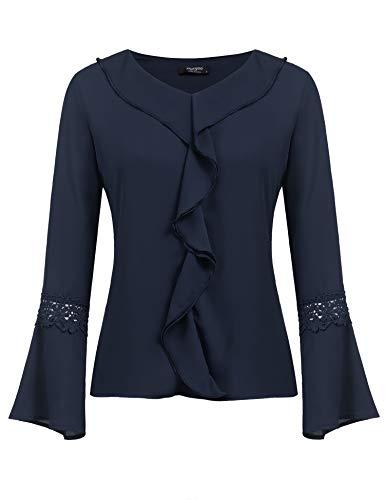 Beyove Damen Elegant Business Chiffonbluse Tunika Langarmshirts mit Rüschen Stehkragen Knöpfen Festlich Tops (S, Z-Navy Blau)