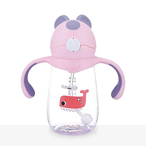 Yidieman Botella Deportiva,Botella de Agua de Dibujos Animados a Prueba de Fugas con asa-B-Pink_500ml,Botellas de plástico Tritan con Filtro sin BPA