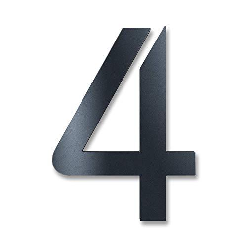 Metzler Hausnummer in Anthrazit aus massivem Stahl - RAL 7016 Anthrazitgrau Feinstruktur Pulverbeschichtet - Schrift Bauhaus - Höhe 14 cm - Ziffer 4