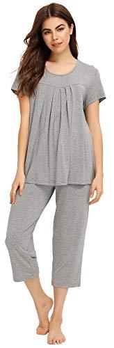 WiWi Bamboo Short Sleeve Lightweight Sleepwear Comfy Top with Capris Pants Pajamas Set Scoop Neck Pjs for Women S-XXL, Heather Grey, Large