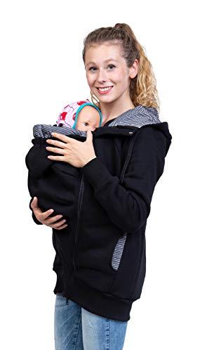 Viva la Mama - Tragehoodie Tragejacke aus Baumwolle Sweatjacke zum Babytragen - Elliot - schwarz/Streifen - M