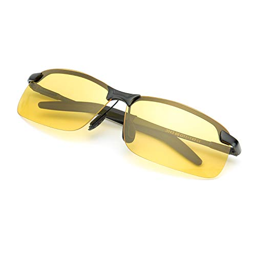 TJUTR Herren Nachtsichtbrille Zum Autofahren, Polarisierte Gelbe Sportbrille Anti-Glanz Nacht Vision Blendschutz Brille Metall Rahmen - UV400 (Schwarz/Gelb)