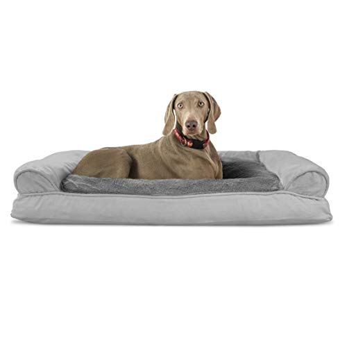 Furhaven Pet Dog Bed - Ultra Plush Faux Fur and Suede Pillow Cushion Traditional Sofa-Style Living...