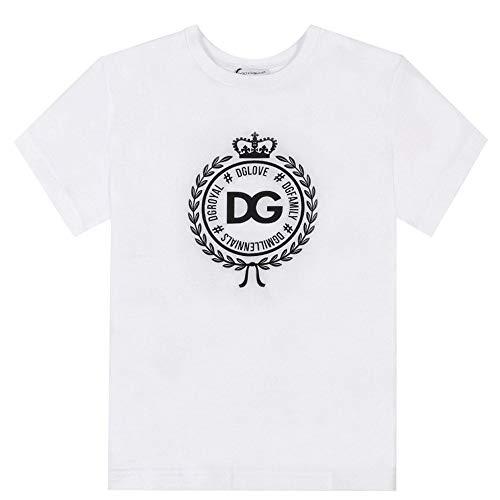 Dolce & Gabbana Bambini Royal Emblema Logo t-Shirt Bianco 8 Years White
