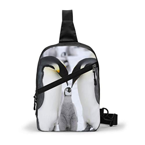 Womens Satchel Crossbody Bags Adorable Emperor Penguin Family Womans Chest Bag Crossbody Bags For Teen Girls Men Fashion Chest Bag With Adjustable Strap For Men Or Women Cycling Walking Hiking