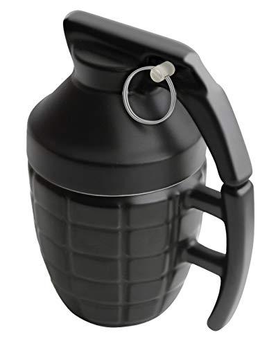 Adkwse Tasse Handgranate, aus Keramik, mit Deckel, Füllmenge: 280 ml, Schwarz