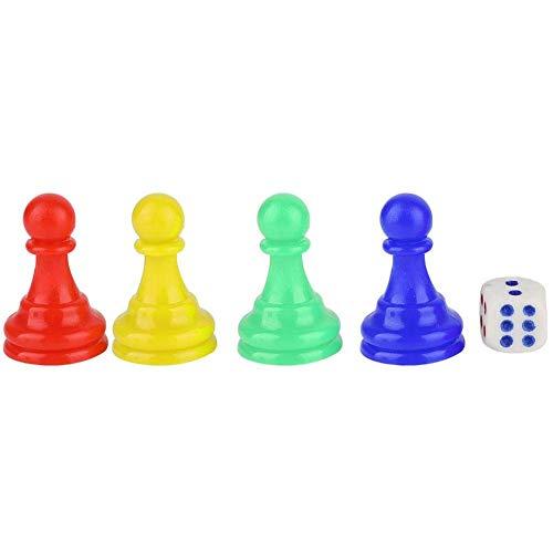 YLLN Damas Peones de plástico Piezas Piezas de ajedrez con 1 Dado para Juegos de Mesa Componente de marcadores de Mesa