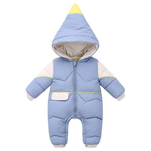Macacão Valicclud para recém-nascidos, unissex, para bebês e meninas, macacão de uma peça, roupas quentes de inverno para festa de Natal de Ano Novo (azul, 90 cm)