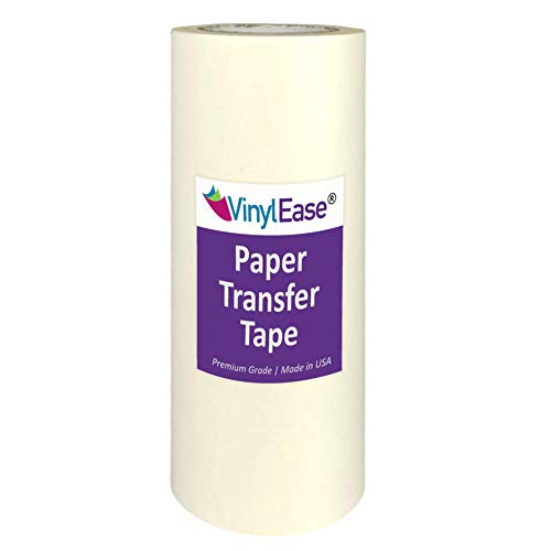 Vinyl Ease 12 inch x 100 feet roll of Paper Transfer Tape with a Medium to High Tack Layflat Adhesive. Works with a Variety of Vinyl. Great for Decals, Signs, Wall Words and More. American Made V0821